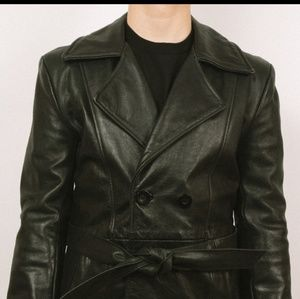 Laurence Roy Canadian leather belted 3/4 coat